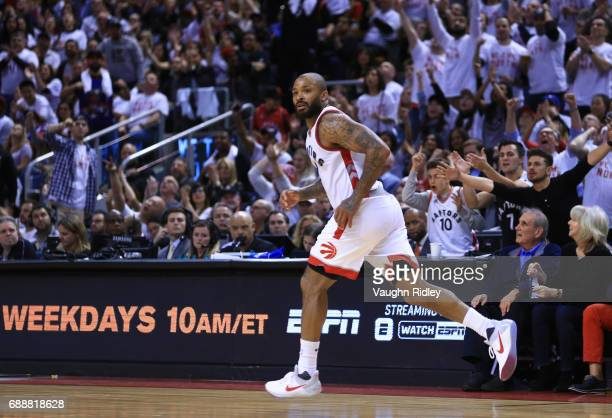 J Tucker of the Toronto Raptors runs up the court in the second half of Game Four of the Eastern Conference Semifinals against the Cleveland...