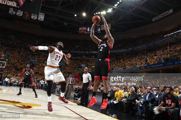 Tucker of the Toronto Raptors shoots the ball against the Cleveland Cavaliers in Game One of the Eastern Conference Semifinals of the 2017 NBA...