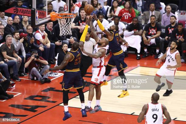 J Tucker of the Toronto Raptors shoots the ball against the Cleveland Cavaliers during Game Three of the Eastern Conference Semifinals of the 2017...