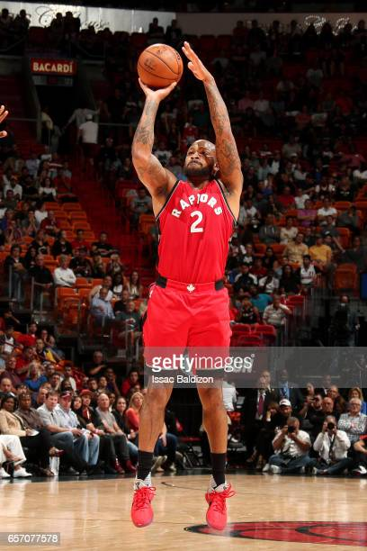 Tucker of the Toronto Raptors shoots the ball during the game against the Miami Heat on March 23 2017 at AmericanAirlines Arena in Miami Florida NOTE...