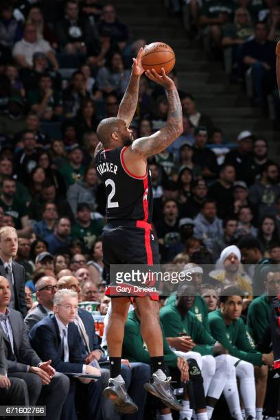 PJ Tucker of the Toronto Raptors shoots the ball during the game against the Milwaukee Bucks in Game Four during the Eastern Conference Quarterfinals...