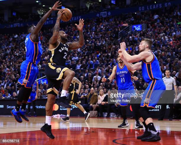 J Tucker of the Toronto Raptors shoots the ball during the second half of an NBA game against the Oklahoma City Thunder at Air Canada Centre on March...