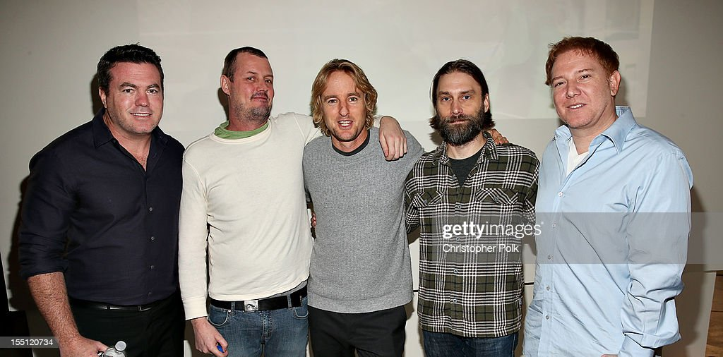 Tucker Tooley, President of Relativity Media; Jimmy Hayward, Director of 'Turkeys'; Owen Wilson, Star of 'Turkeys' (Voice Talent); Scott Mosier, Producer of 'Turkeys'; and Ryan Kavanaugh, CEO of Relativity Media at RealFX on November 1, 2012 in Santa Monica, California.