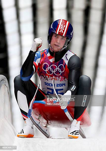 Tucker West of the United States competes during the Men's Luge Singles on Day 2 of the Sochi 2014 Winter Olympics at Sliding Center Sanki on...