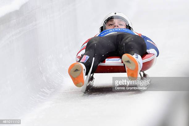 Tucker West of the United States competes in the 1st run of the Men's FIL Luge World Cup Koenigssee at Deutsche Post Eisarena on January 4 2015 in...
