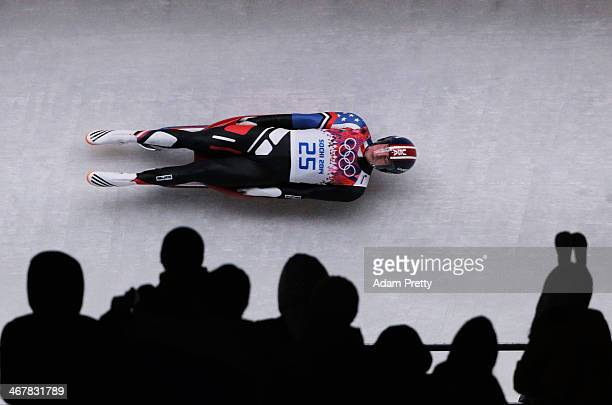 Tucker West of the United States makes a run during the Luge Men's Singles on Day 1 of the Sochi 2014 Winter Olympics at the Sliding Center Sanki on...