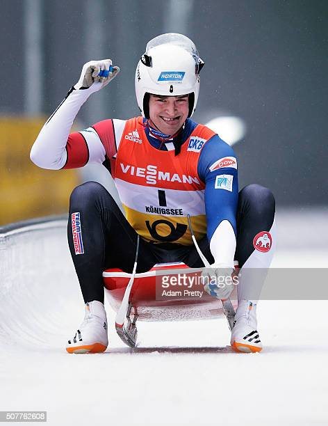 Tucker West of the USA celebrates victory in the under 23 World Championship in the Men's Luge during Day 2 of the Luge World Championships at...