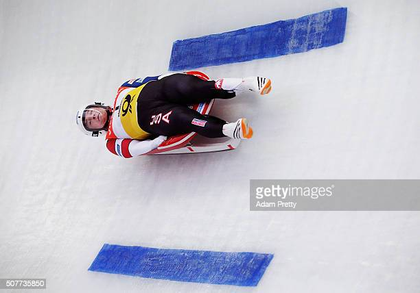 Tucker West of the USA completes his first run in the Men's Luge during Day 2 of the Luge World Championships at Deutsche Post Eisarena Koenigssee on...