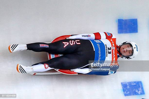 Tucker West of United States of America competes during heat one of the Men's event of the Viessmann Luge World Cup Day 2 at Veltins EisArena on...
