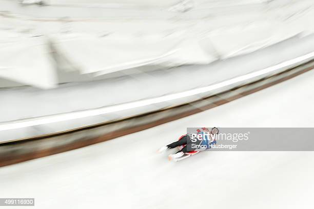 Tucker West of USA in action during the Viessmann Luge World Cup at Olympiabobbahn Igls on November 29 2015 in Innsbruck Austria