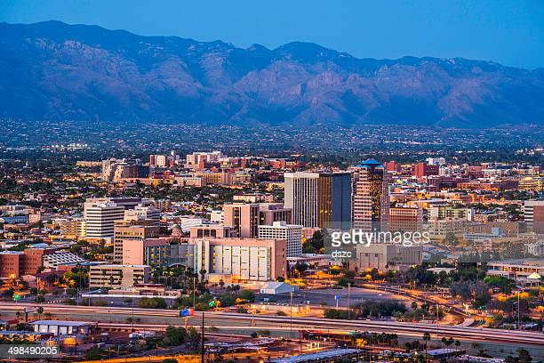 Tucson Arizona skyline cityscape and Santa Catalina Mountains at dusk