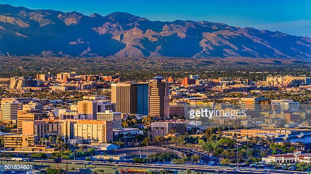 Tucson Arizona skyline cityscape and Santa Catalina Mountains at sunset