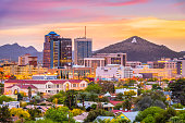 Tucson, Arizona, USA downtown skyline with Sentinel Peak at dusk. (Mountaintop 'A'  for 'Arizona')