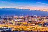 Tucson, Arizona, USA downtown skyline from Sentinel Peak at dawn.