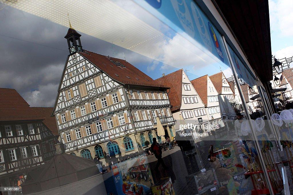 Tudor houses are reflected in a window of a toy store in the city center on March 5, 2010 in Winnenden, Germany. Tim Kretschmer opened fire on teachers and pupils at his former school on March 11, 2009, killing 15 and leaving many more injured. Kretschmer fled the scene and shot himself dead after being cornered by police.
