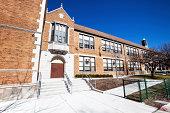 'Tudor Revival Elementary School  in West Elsdon, Chicago'