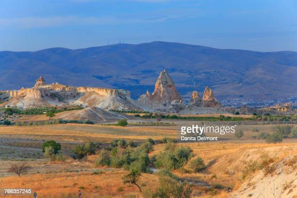Tufa volcanic rock formations in Red Valley, Goreme National Park, Goreme, Cappadocia, Anatolia, Turkey