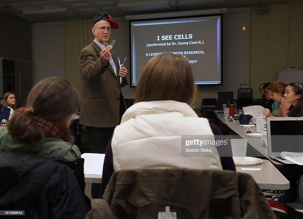 Tufts University professor Jonathan Garlick a.k.a. Dr. Jonny Cool G, breaks it down performing rap to teach students about complicated scientific concepts, such as stem cells. Garlick is seen here during a Freshman Anthropology 5 Science and the Human Experience seminar.