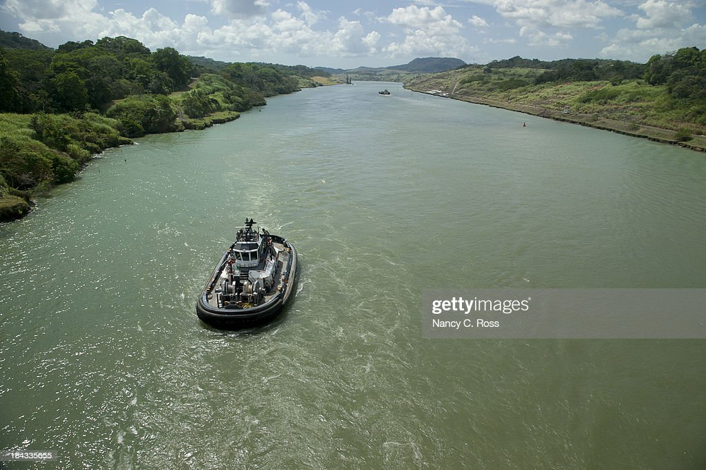 'Tugboat in Panama Canal, Central America, Transportation'