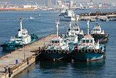 Tugboats anchored at Port of Kobe, Kobe city, Hyogo prefecture, Japan