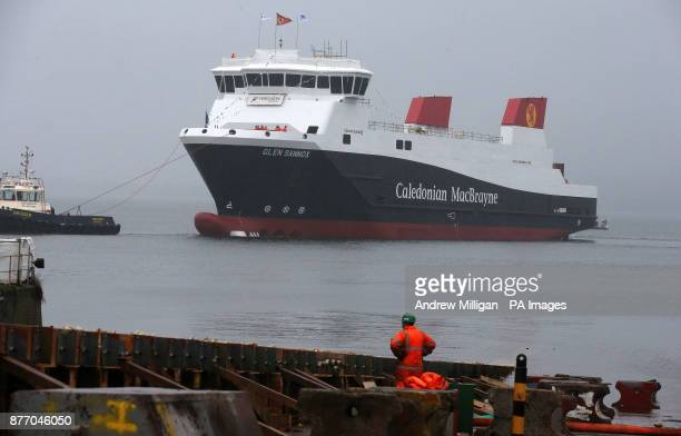 Tugs tow the ferry MV Glen Sannox after it was launched at a ceremony for the liquefied natural gas passenger ferry MV Glen Sannox the UK's first LNG...