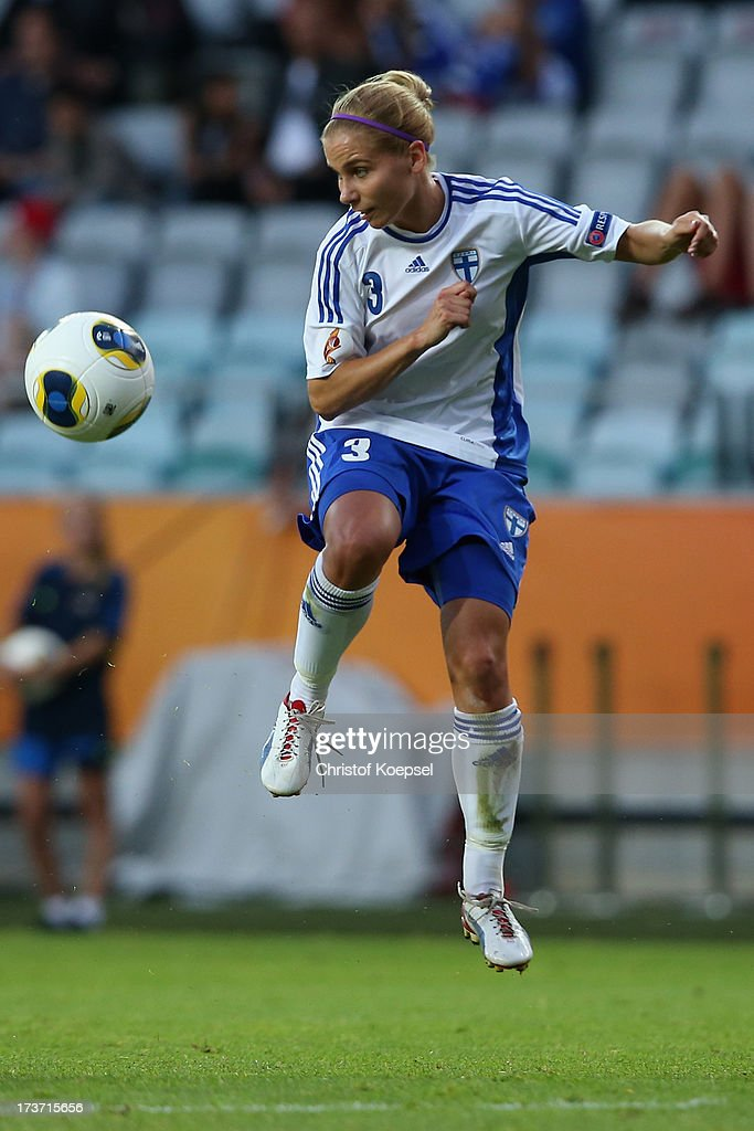 Tuija Hyyrynen of Finland runs with the ball during the UEFA Women's EURO 2013 Group A match between Denmark and Finland at Gamla Ullevi Stadium on July 16, 2013 in Gothenburg, Sweden.