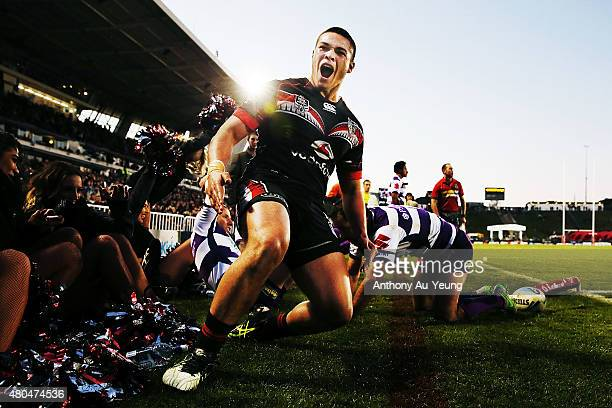 Tuimoala Lolohea of the Warriors celebrates after scoring a try during the round 18 NRL match between the New Zealand Warriors and the Melbourne...