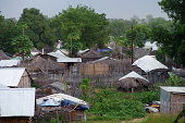 """Grass covered mud huts (Tukols) and shacks in the capital city of Southern Sudan, Juba.Similar Images:"""