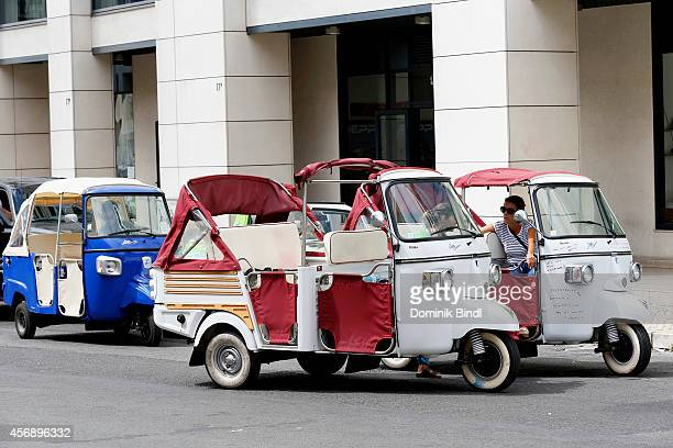 TukTuk in a street wait for customers on August 28 2014 in Lisbon Portugal