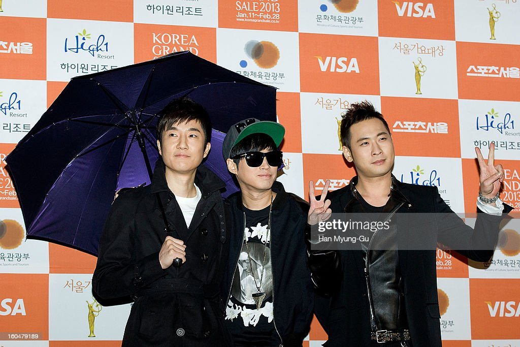 Tukutz, Tablo and Mithra of South Korean hip hop band Epik High attend the 22nd High1 Seoul Music Awards at SK Handball Arena on January 31, 2013 in Seoul, South Korea.