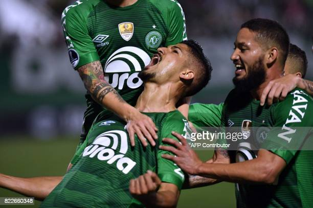 Tulio de Melo of Brazil's Chapecoense celebrates with teammates after scoring against Argentina's Defensa y Justicia during their Copa Sudamericana...