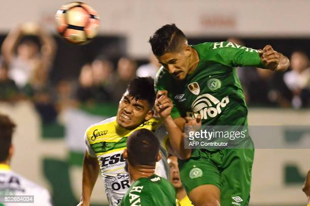 Tulio de Melo of Brazil's Chapecoense heads the ball to score against Argentina's Defensa y Justicia during their 2017 Copa Sudamericana football...