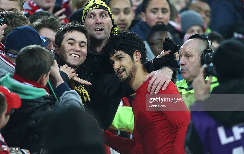Tulio De Melo of Lille celebrates the victory with the fans after the french Ligue 1 match between Lille LOSC and FC Girondins de Bordeaux at the Grand Stade Lille Metropole on March 3, 2013 in Lille, France.