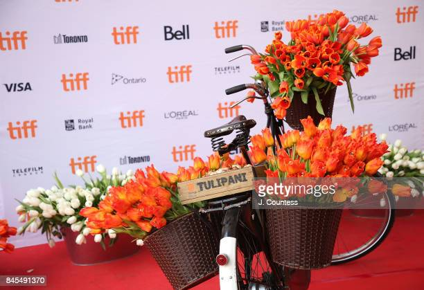 Tulip and bicycle display at the premiere of 'Tulipani Love Honour And A Bicycle' during the 2017 Toronto International Film Festival at Ryerson...
