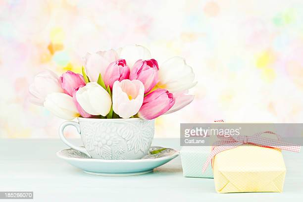 Tulip Bouquet in Teacup with Gifts