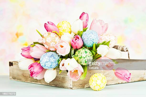 Tulip Bouquet with Easter Eggs - Horizontal