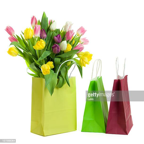 Tulips and shopping bags