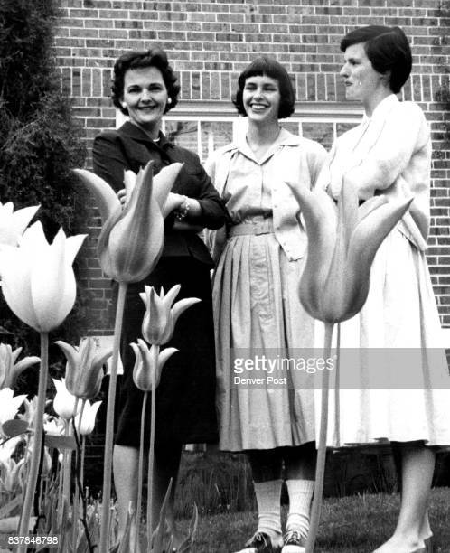 Tulips for Scholarships Mrs Seymour Wheelock chairman of the Smith College Club of Colorado scholarship committee and Mrs Richard Kirk Smith alumna...