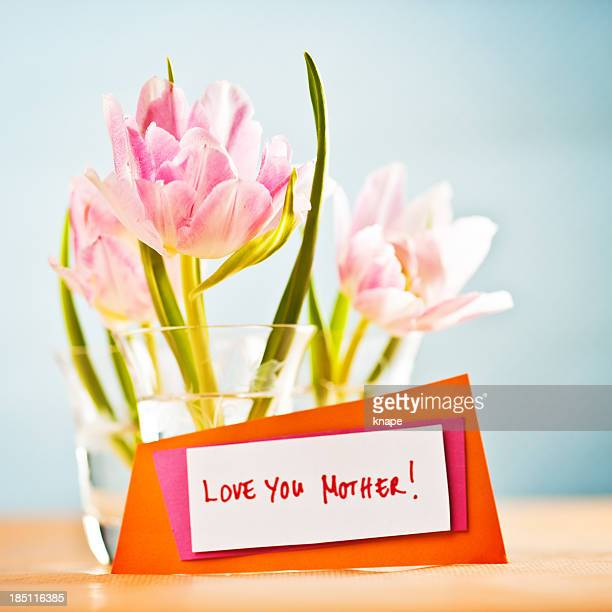Tulips in vase for mother