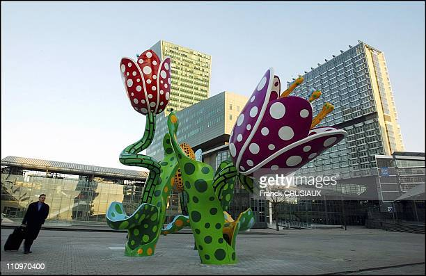 Tulips of ShangriLa by Japanese artist Yayoi Kusama at Plaza Francois Mitterrand in Lille France on December 08 2003