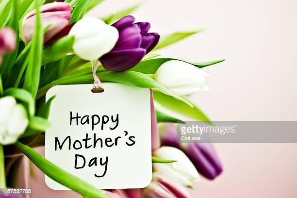 Túlipas com Cartão de Dia da Mãe