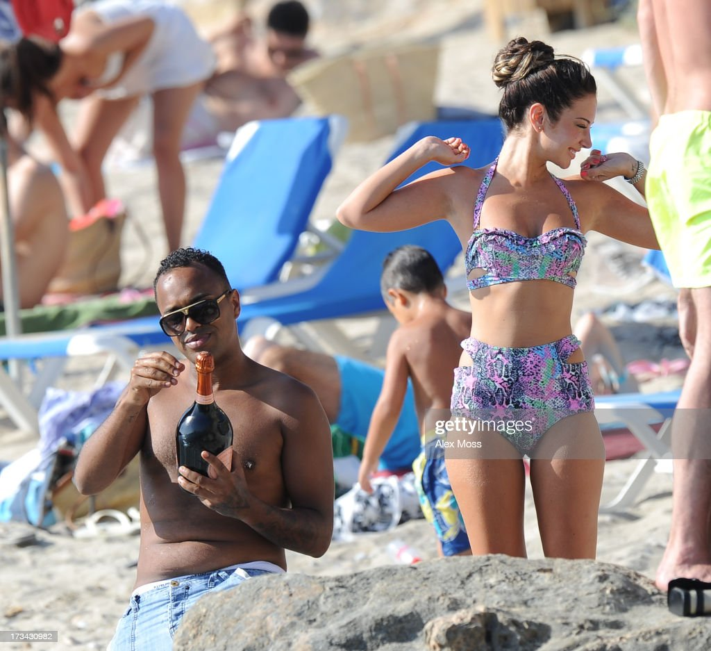 Tulisa Contostavlos Celebrates her birthday at Cala D'Hort beach with friends in ibiza on July 13, 2013 in Ibiza, .