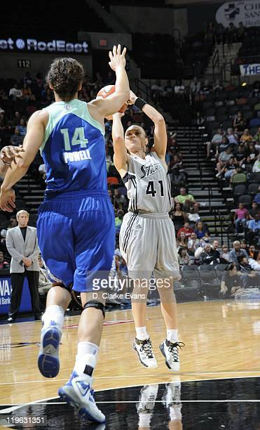 Tully Bevilaqua of the San Antonio Silver Stars shoots the ball against Nicole Powell of the New York Liberty at ATT Center on July 8 2011 in San...