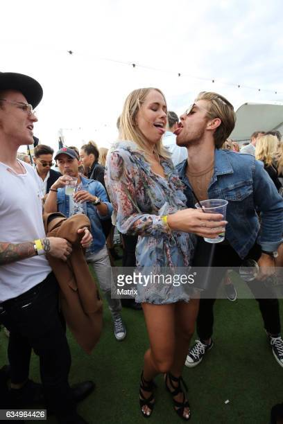 Tully Smyth and friends enjoy the St Kilda Festival on February 12 2017 in Melbourne Australia