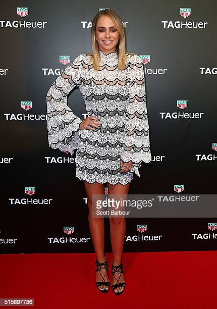Tully Smyth poses at the TAG Heuer Grand Prix Party at Luminare on March 15 2016 in Melbourne Australia The party was held to celebrate the new...