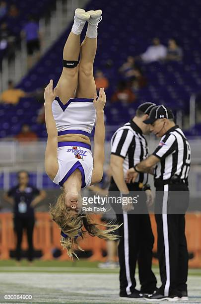 Tulsa Golden Hurricane cheerleader performs during the first half of the game against the Central Michigan Chippewas at Marlins Park on December 19...