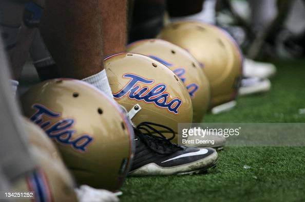 Tulsa Hurricanes helmets are lined up on the sidelines during the second half against the Houston Cougars on November 25 2011 at HA Chapman Stadium...