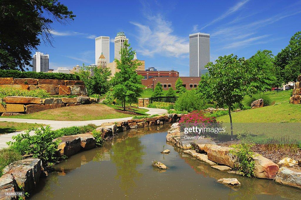 Tulsa skyline and park