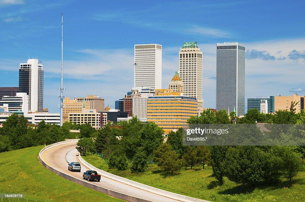 Tulsa skyline and road