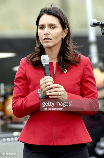 Tulsi Gabbard speaks at Bernie Sanders 'A future to believe in San Francisco GOTV Concert' at Crissy Field San Francisco on June 6 2016 in San...